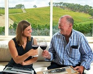The Claredon vineyard handover. Katie Jackson with David Hickinbotham. Photo : Milton Wordley