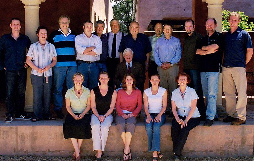 The Len Evans 2005 Tutorial  team. Len Evans is seated, Corrina is bottom left. Photo supplied.