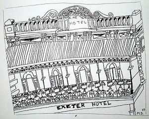 The Exeter Hotel, Rundle St East. Sketch : Amelia 'Millie the Kid' Dickins.