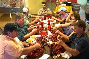 The locals tackling the Crawfish.