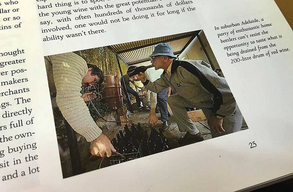 Founding memeber Ross Noble samples a drop at a 1982 bottling. Photo : Milton Wordley  from Robert Maynes 'The Great Australian Wine book'.