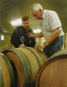 Daniel and Bill barrel sampling : Image supplied