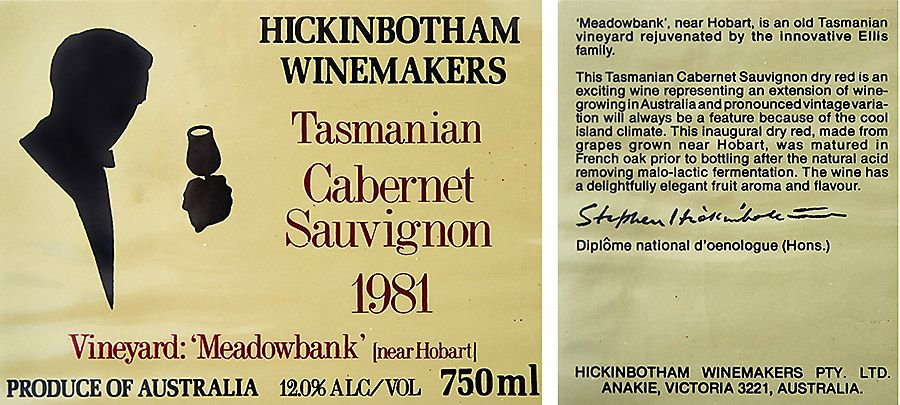 Tasmanian 1981 Cab Sav front and back labels. Very early Aussie cool climate red. Photo supplied