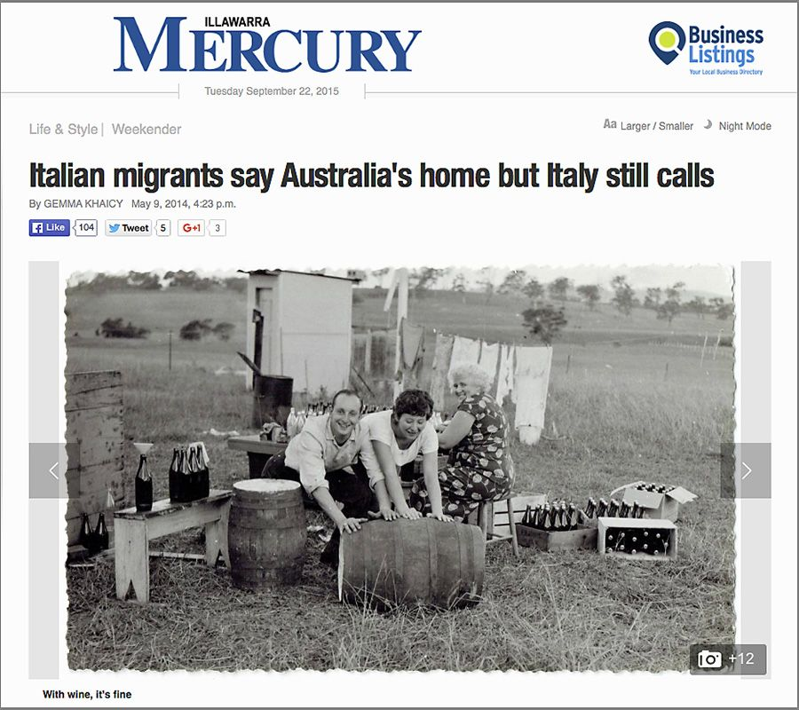 Italian migrants Lilian and Bruno Ballesi making wine in the 1950's  :  The Illawarra Mercury.