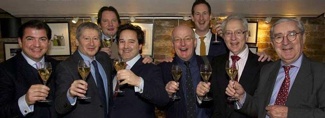 At the Oxford and Cambridge 60th Anniversary tasting, Ant won the top taster award.. L-R Mathew Jukes, Anthony Rose, Joe Wadsack, Will Lyons, Oz Clarke, Peter Richards MW, Michael Schuster and Pol Roger's Patrice Noyelle. Photo © Pol Roger