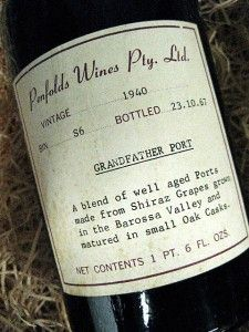 Penfolds Grandfather1940. Photo supplied.