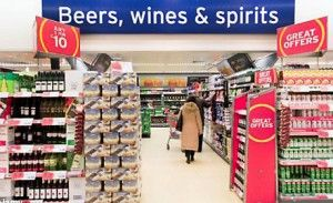 Wine sales in a UK supermarket.