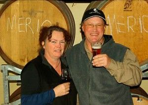 Andrew and partner Terryn at Hickinbotham of Dromana winery. Photo : supplied