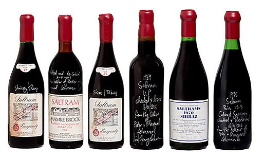 A line up of wine from Peter's cellar including the Photo supplied.