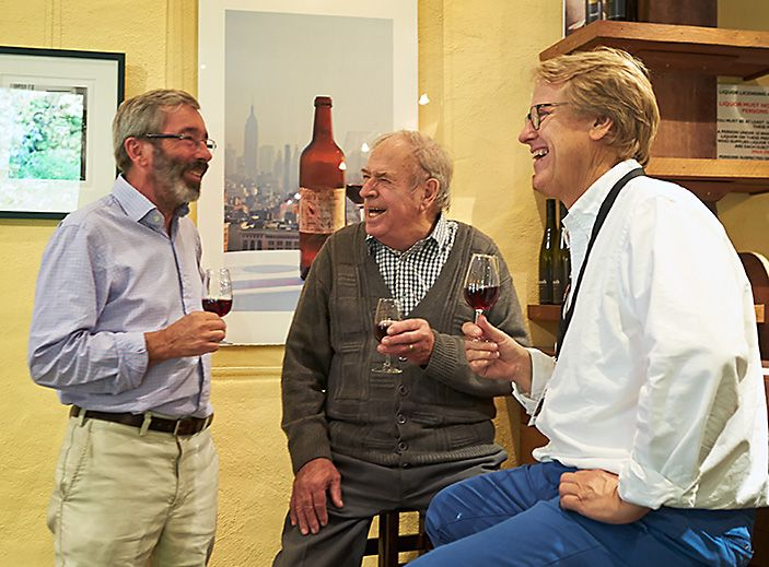 Stephen Henschke, the late peter Lehmann and Robert Hill Smith. Photo : Milton Wordley.