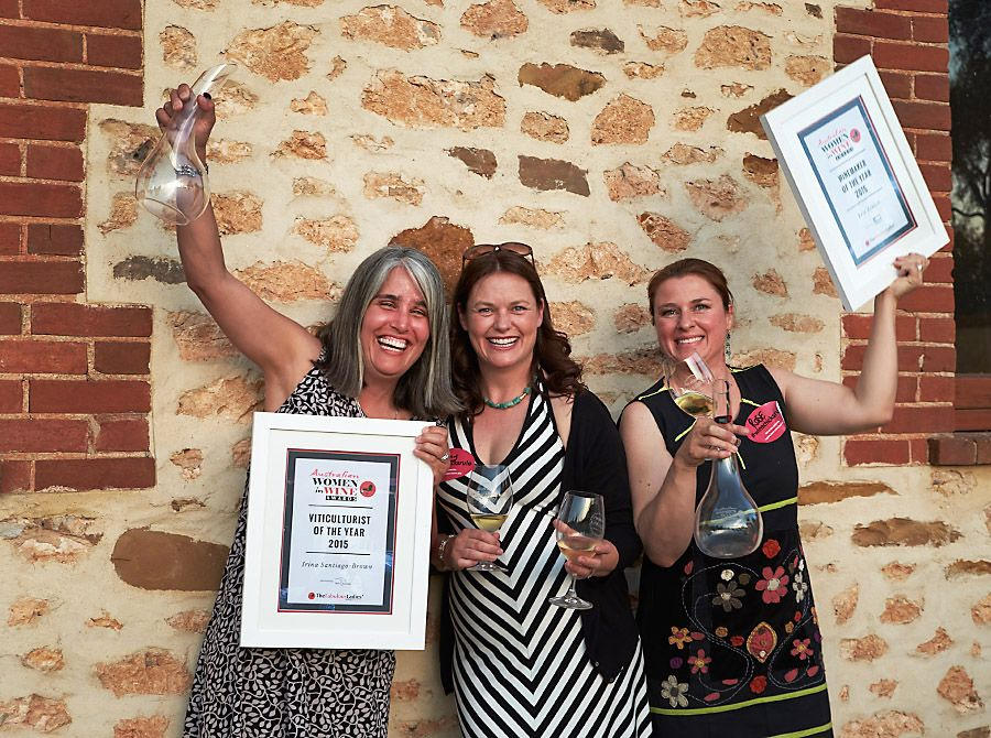 The 2015 Women of Wine awards presentation in McLaren Vale, Irina Santiago-Brown with Briony Hoare, and Rose Kentish : Photo © Milton Wordley.