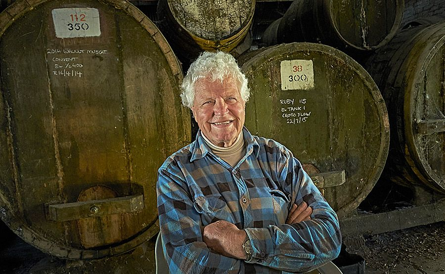 Bill in the old Chambers Rutherglen cellar. Photo : Milton Wordley