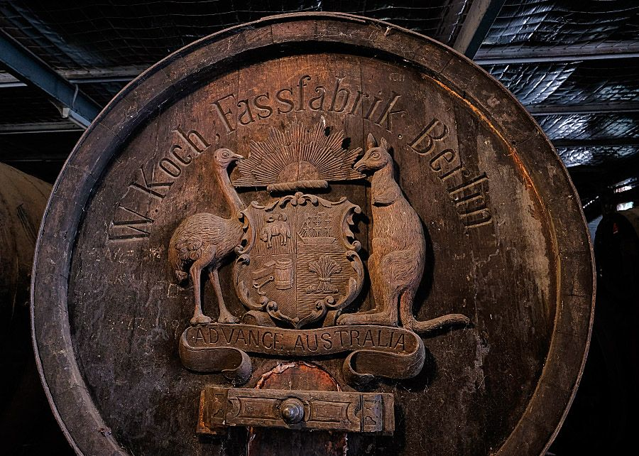 Old and rare 'Exhibition Barrel' in the Chambers Cellar from 1888 Exhibtion in Melbourne. Photo : Milton Wordley