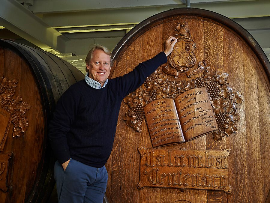 Robert with the Yalumba Centenary Barrel. Photo : Milton Wordley.