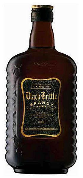 Hardy 'Black Bottle' brandy.