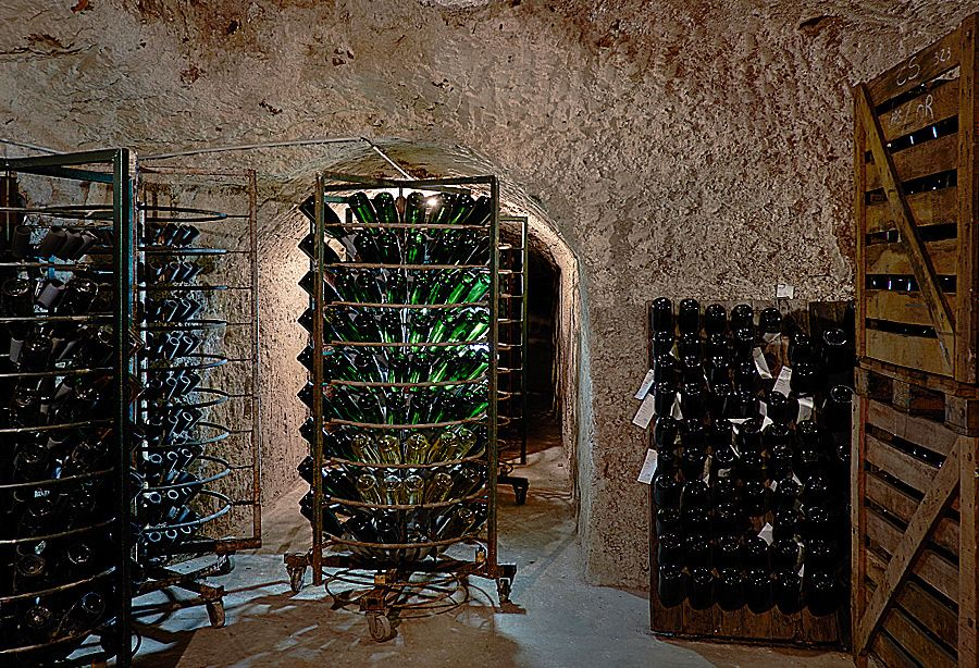 Riddling racks in Jean-Paul Morel's cellar in Verzenay  : Photo © Milton Wordley.