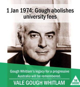 Gough Whitlam on a Greens poster.