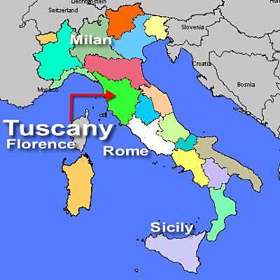 Tuscany's location in Italy.