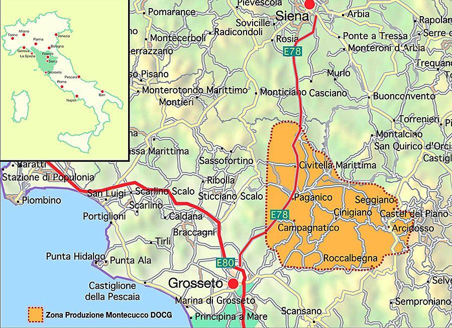 Montecucco DOC area within Italy.