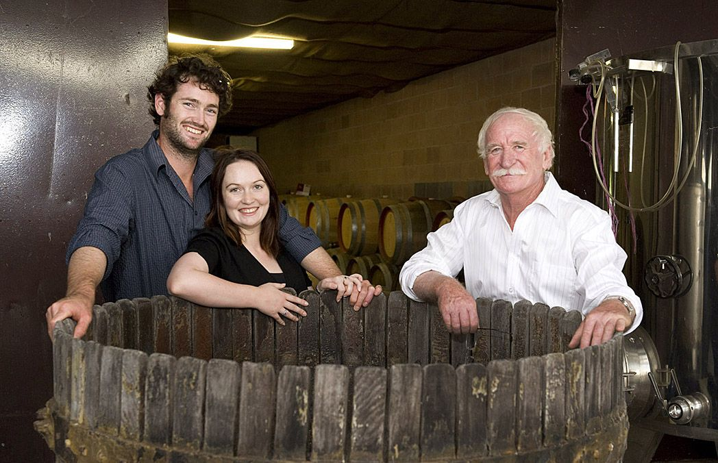Ken with his daughter Steph and her husband Ben Osborne, Vineyard and Winery Manager : Photo © Irene Dowdy