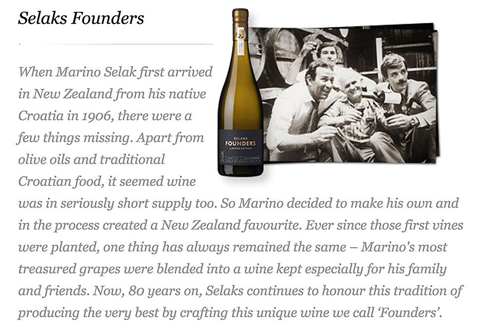 Chris worked when he returned to NZ. Here's 'Founders'  page from Selaks web site.