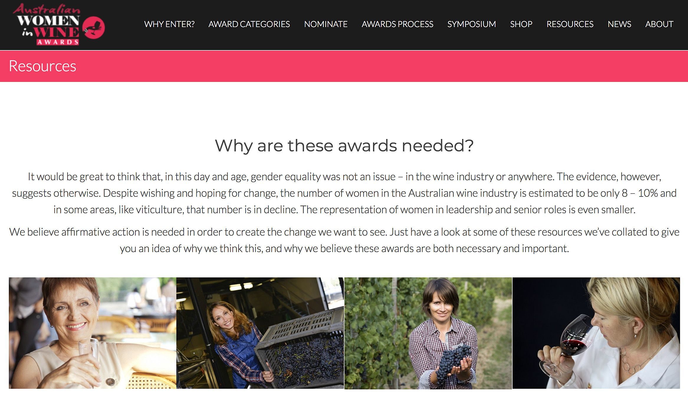 Women in Wine Awards web site.