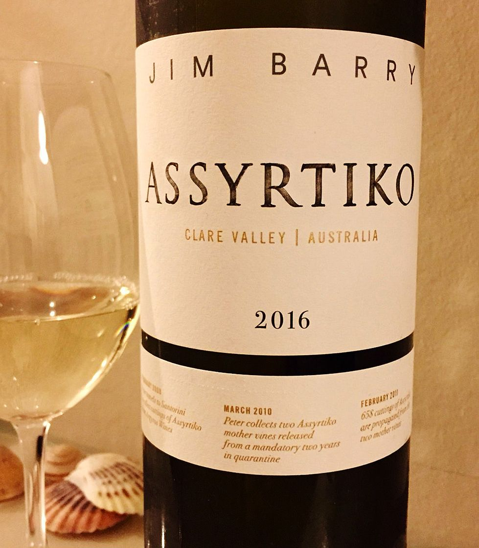 Jim Barry wines of the Clare Valley, Australia's first Assyrtiko.