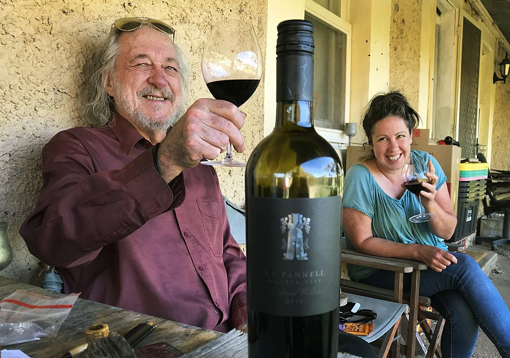 Philip enjoy a bottle of the SC Pannell Bushing King wine with Satanika or Berls (Anika Berlingieri)  captain of his 'Beloved Transport Corps' .