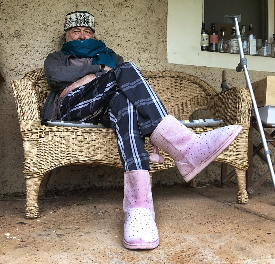 Whitey in his Pink Ugg boots during his female hormone treatment.