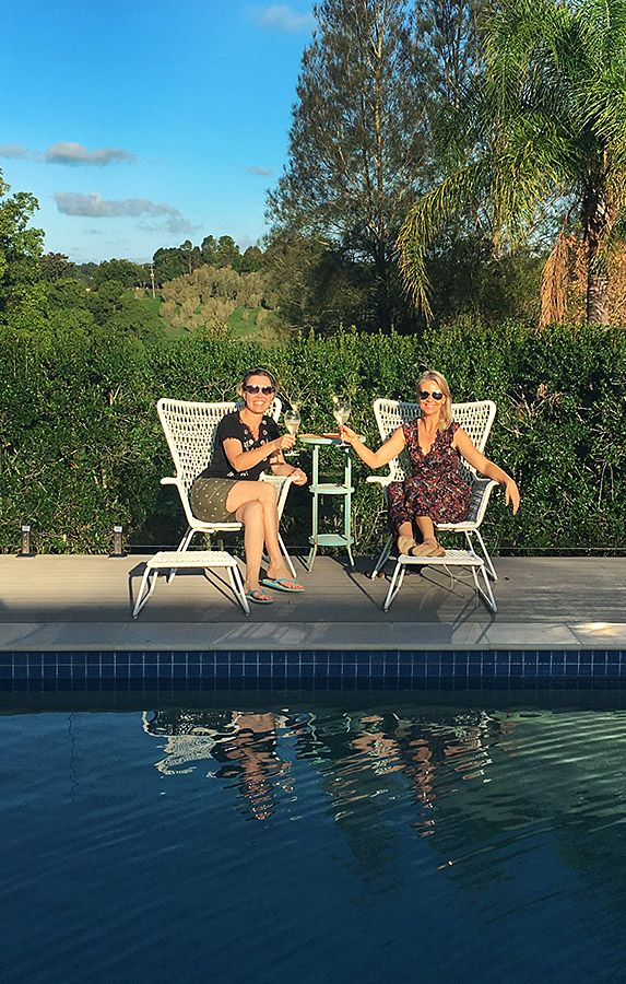 Jane at home  in the Byron Bay Hinterland with a friend from Bahrain Sandra Schuler..