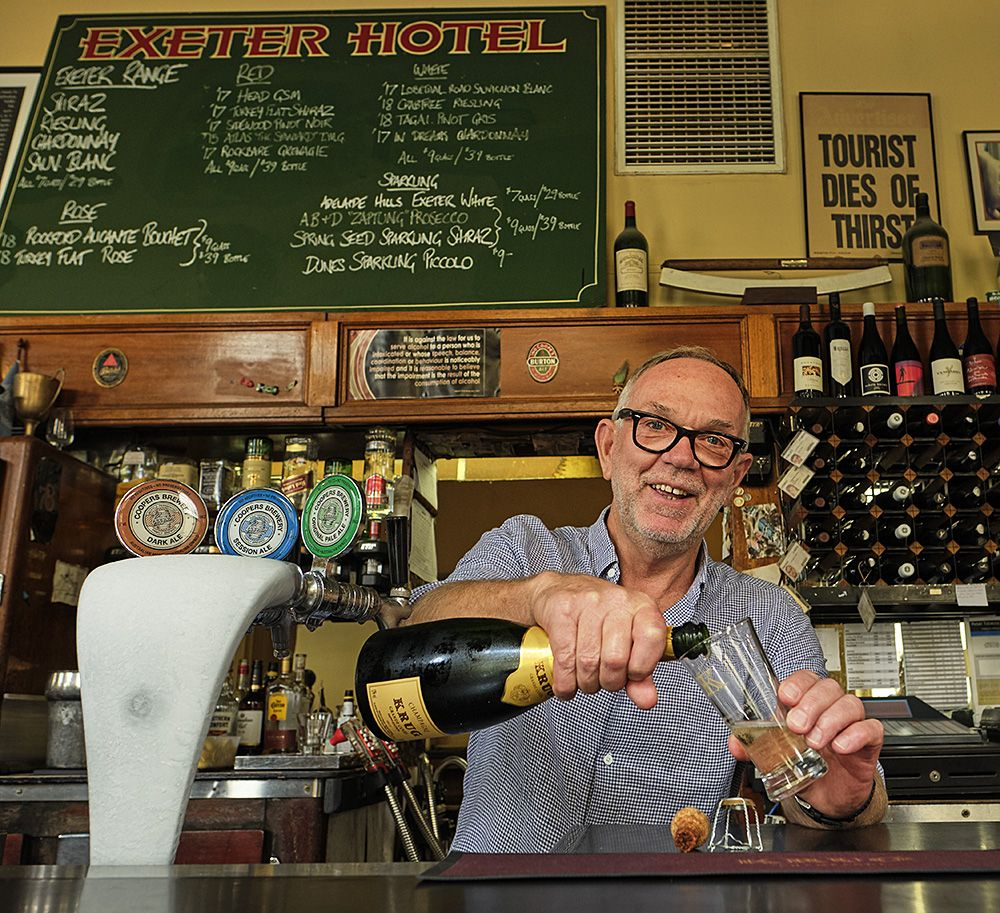 Exeter Hotel licensee Kevin Gregg pours another butcher in the front bar : Call in for  one, well worth it : Photo © Milton Wordley.
