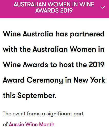 Australian Women in Wine Awards 2019 : New York September 17th in partnership with Wine Australia.